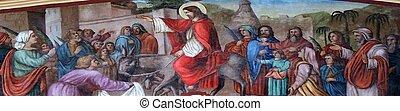 Triumphal Entry of Jesus into Jerusalem, fresco in the church of Saint Matthew in Stitar, Croatia