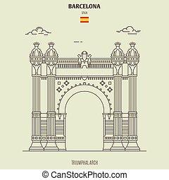 triumphal, spain., välva, barcelona, gränsmärke, ikon