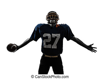 triumphant american football player man silhouette - one...