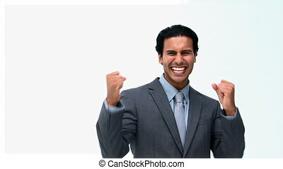 Triumphant businessman in front of the camera isolated on a...