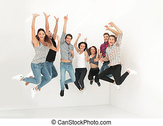 triumphant group of young people .isolated on light...