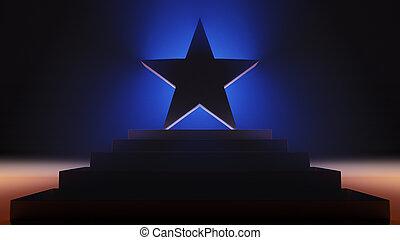 Triumphant Star Backlit On Pedestal - A 3d illustration of ...