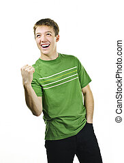 Triumphant young man - Excited energetic young man gesturing...