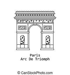 triunfal, de, arco, triomphe, francia, parís