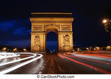 triunfo, arco, por la noche