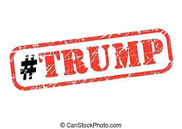 triunfo, hashtag, estampilla, caucho