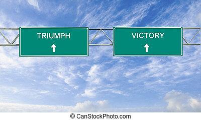 triunfo, vitória, sinais estrada