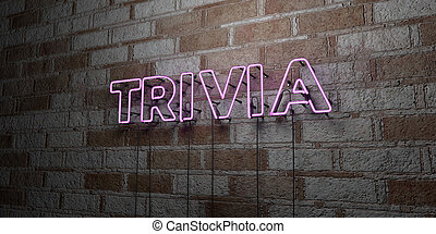 TRIVIA - Glowing Neon Sign on stonework wall - 3D rendered ...