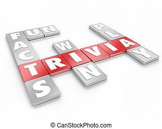 trivia, mot, lettre, tuiles, jeu, concourir, concurrence, connaissance, essai