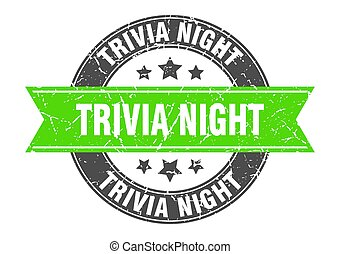 trivia night round stamp with ribbon. label sign - trivia ...