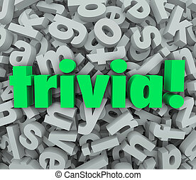 Trivia Word 3D Letter Background Quiz Fun Game Questions -...