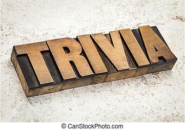 trivia word in wood type