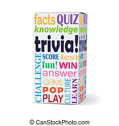 trivia word on product box with related phrases