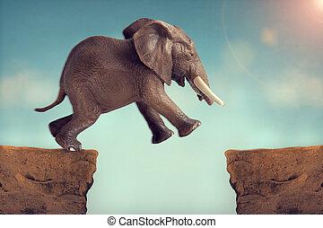 tro, begrepp, glaciärspricka, hoppa, hoppning, elefant, över