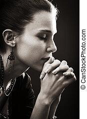 tro, kvinna, -, bön, religion