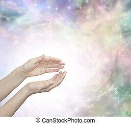tro läkande, med, vacker, energi