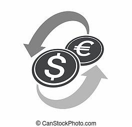 troca moeda corrente, ícone