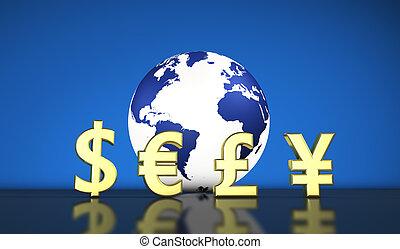 troca moeda corrente, internacional, economia mundial