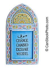 troca moeda corrente, sinal, isolado, branco, fundo