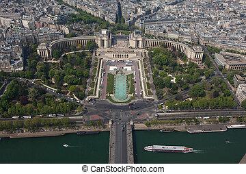 Trocadero and Trocadero Garden aerial view - Paris, France -...