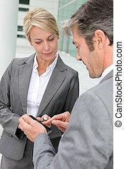 trocar, telefone, números, negócio, pessoas