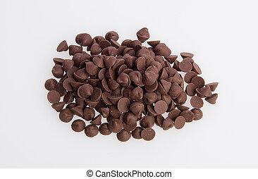 trocito de chocolate, bocados, extensión, en, un, fondo.
