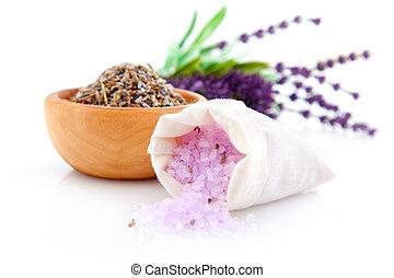 trocken, lavendel, kraeuter, und, badesalz, freigestellt, weiß, hintergrund