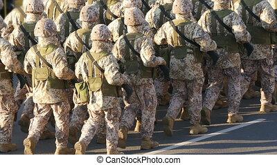 troepen, -, navo, militair, hd, stoet