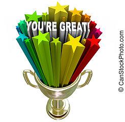 troféu, é, grande, elogio, vencedor, -, palavras