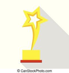 troféu, ícone, estilo, estrela, apartamento