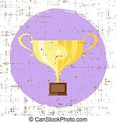 troféu, apartamento, estrela, copo, vetorial, fundo, grunge, ícone