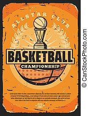troféu, basquetebol, desporto, jogo, bola