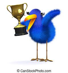 troféu, bluebird, ouro, 3d