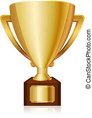 troféu, brilhante, ouro