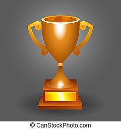 troféu, bronze, copo