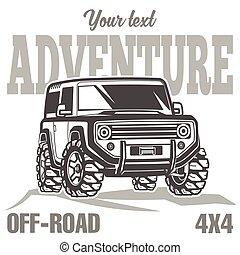 troféu, car, fora-estrada, suv, caminhão, cartaz, 4x4, viagem