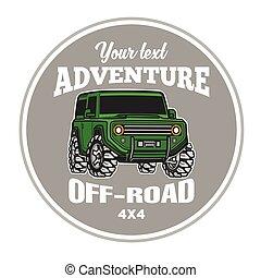 troféu, car, fora-estrada, suv, caminhão, cartaz, logotipo, 4x4