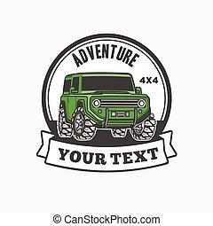 troféu, car, fora-estrada, suv, caminhão, logotipo, 4x4