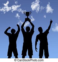 troféu, celebração, silhuetas, ligado, céu