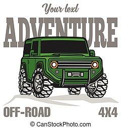 troféu, colorido, car, fora-estrada, suv, caminhão, cartaz, 4x4