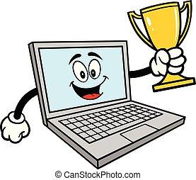 troféu, computador, mascote