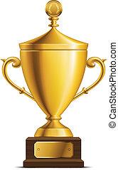 troféu, copo, dourado