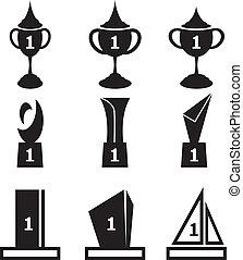 troféu, copos, vetorial