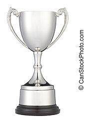 troféu, Cortando, copo, isolado, caminho, branca, prata