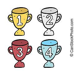 troféu, doodle, jogo