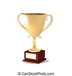 troféu, dourado, branca, isolado