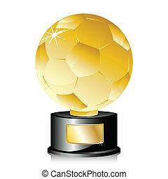 troféu, dourado, champion., bola futebol