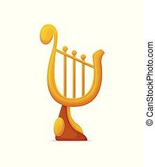 troféu, dourado, distinção, vetorial, lira, cadeias