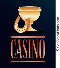 troféu, dourado, pôquer, copo, cassino, ferradura