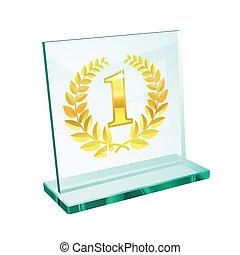 troféu, dourado, primeiro